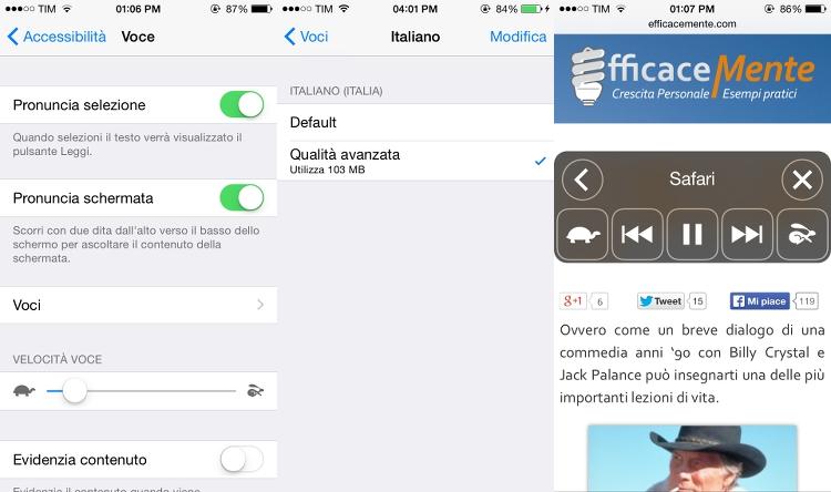 Funzione pronuncia schermata iOS8